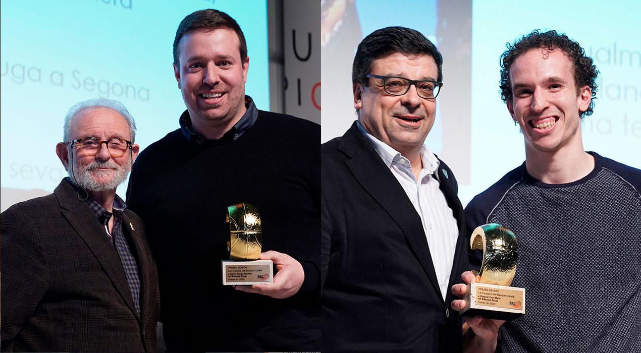 Reconeixen Oleguer Cruz i Albert Tomàs per defensar els colors del Bàsquet Berga durant més de 20 anys
